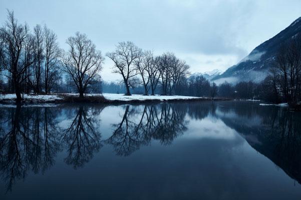 Switzerland, Bolle di Magadino, blue hour in winter