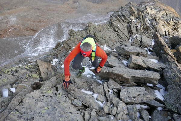 Einige Meter vor dem Gipfel