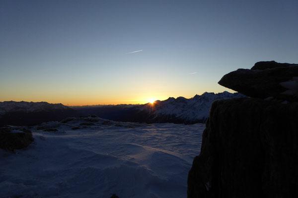 Die ersten Strahlen auf unserem Gipfel