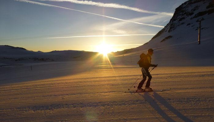 Nach nur 5 Minuten tragen, konnten die Skier angeschnallt werden