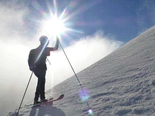 Im Gipfelhang zeigte sich endlich die Sonne