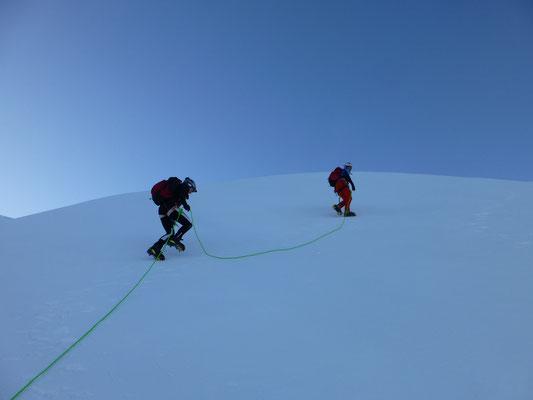 Die Bedingungen am Gletscher hervorragend