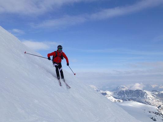 Abfahrt vom Tuckett, ebenfalls vom Gipfel noch möglich