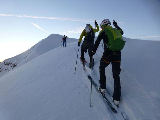 Den finalen Gipfelhang absolvierten wir nun ohne Seil
