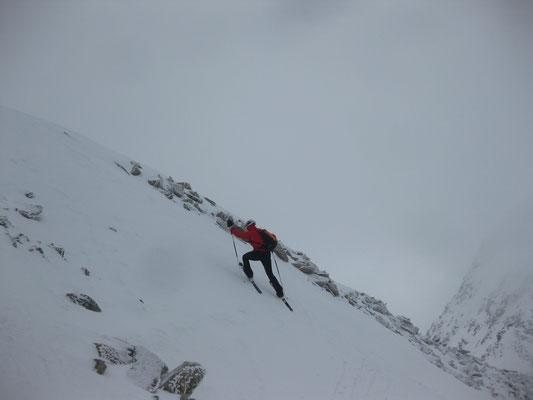 die letzte Steilstufe, Franz mit Skieren