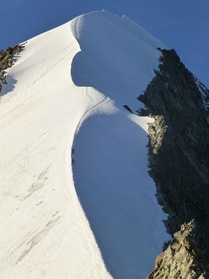 am Ende der Kletterei, der Blick über den Biancograt