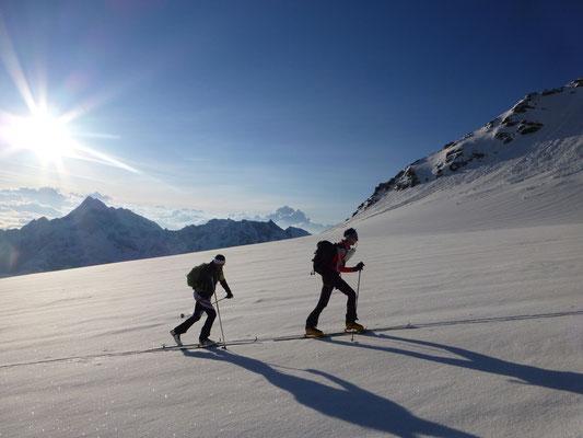 Martin und Welli am Ferner, kurz vor dem Wandeinstieg