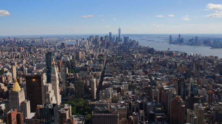 Depuis l'Empire State Building, vue sur le sud de Manhattan, US