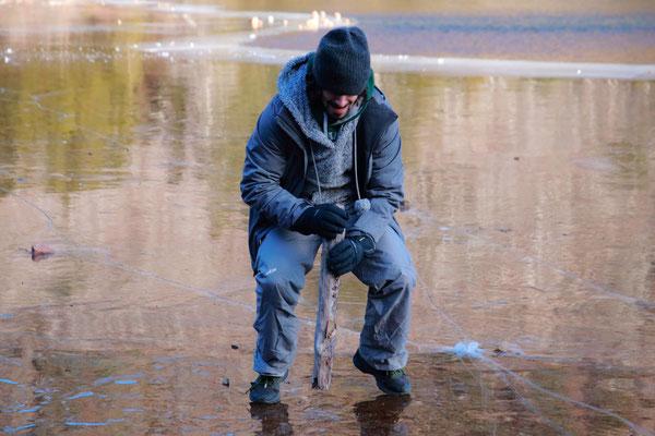 Jean versus la glace. Jordan Pond, Acadia National Park, ME, USA
