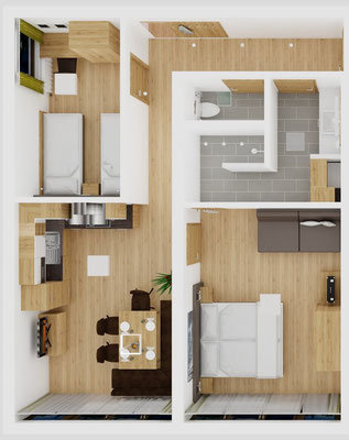 Grundriss Apartment D Priel