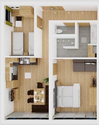 Grundriss Apartment D Priel
