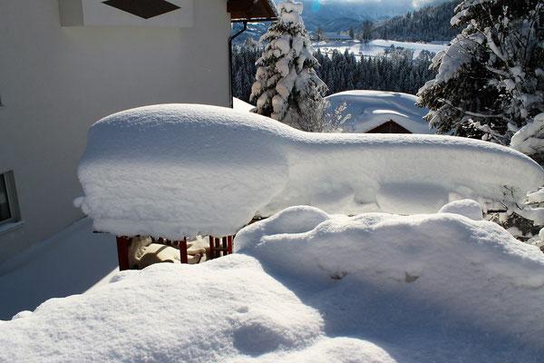 Unser Spielplatz ist im Schnee verschwunden - Jänner 2019 - Haus Löger Apartments - Windischgarsten