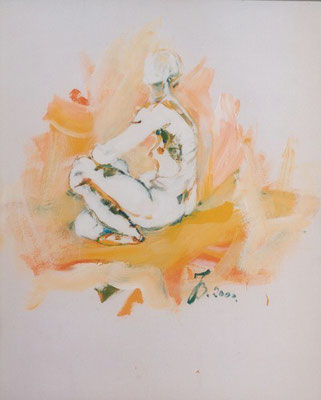 Weiblicher Akt Profil sitzend | Acryl auf Karton | 2000 | 90x72cm