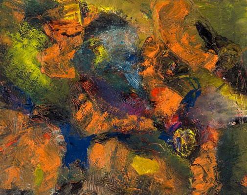 Weisse Larve | Öl auf Papier | 2003 | 50x40cm