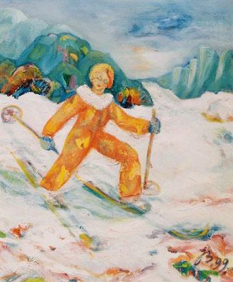 Schifahren | Öl auf Leinwand | 1999 | 50x60cm | Bewegungsfreude in Natur und frischer Luft blieb mir mein Leben lang erhalten.