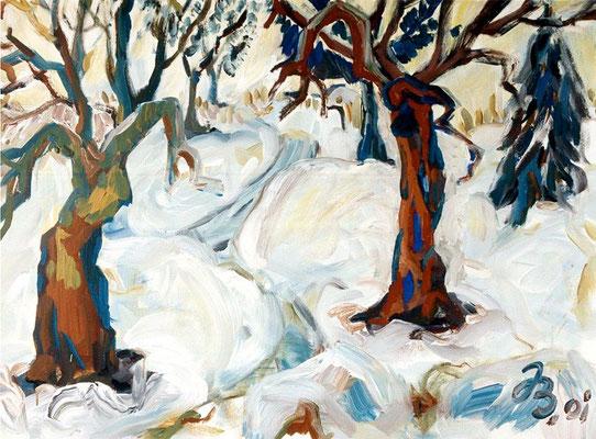 Winterlandschaft | Acryl auf Leinwand | 2001 | 80x60cm