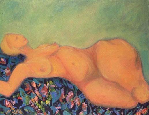 Dame auf Blumen | Öl auf Leinwand | 2006 | 90x70cm
