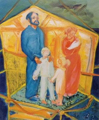 Familie | Öl auf Leinwand | 1999 | 50x60cm | Wir bauen ein Haus, haben 3 Kinder.