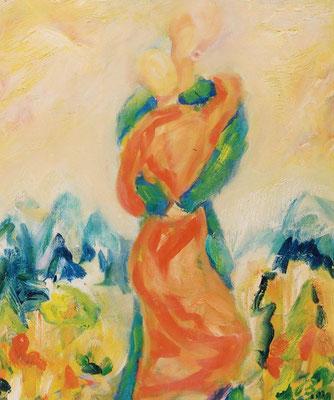 Umarmung | Öl auf Leinwand | 1999 | 50x60cm | Zusammentreffen mit meinem Mann.