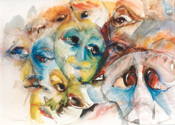 Augenblicke | Aquarell, Pastell auf Papier | 1997 | 80x60cm
