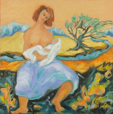 Mutter mit Kind | Öl auf Leinwand | 2006 | 80x80cm