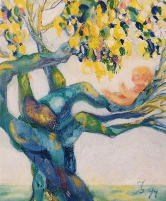 Lebensbaum | Öl auf Leinwand | 1999 | 50x60cm | Die Zeugung meiner selbst findet unter einem alten Baum durch die Liebe meiner Eltern statt.
