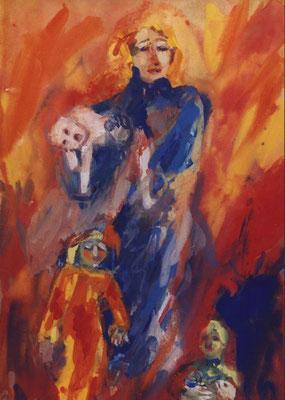 Weisse Puppe | Gouache auf Papier | 2000 | 35x50cm