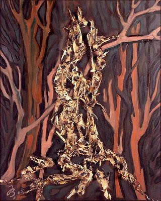 Spechtbaum Holzspäne | Öl auf Leinwand | 2005 | 80x100cm
