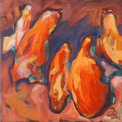 5 in rot | Öl auf Leinwand | 2002 | 40x40cm