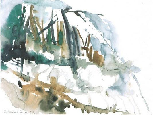 Holzig | Aquarell auf Papier | 1992 | 42x32cm