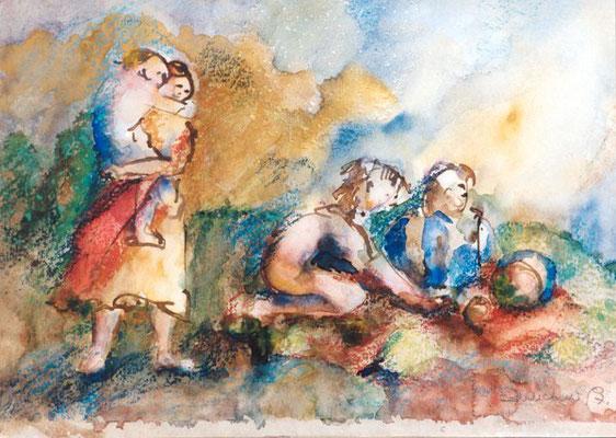 Mutter & 3 Kinder | Tusche, Aquarell, Pastell auf Papier | 1997 | 50x35 cm