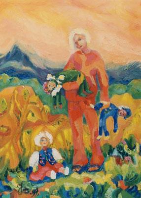 Puppenmutter | Öl auf Leinwand | 1999 | 50x70cm | Liebe meine Puppen wie Kinder.