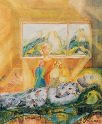 Tod | Öl auf Leinwand | 1999 | 50x60cm | Mein Mann stirbt unerwartet.