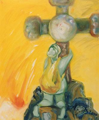 Ziel | Öl auf Leinwand | 1999 | 50x70cm | Nach 25 Jahren - endlich - umfasse ich das Kreuz des Gipfels, ich bin nicht abgestürtzt - Gott sei Dank !