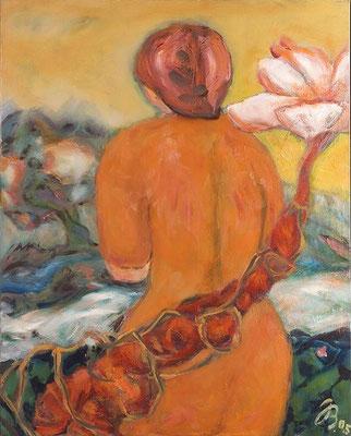 Mädchen mit rotem Kleid | Öl auf Leinwand | 2005 | 80x100cm