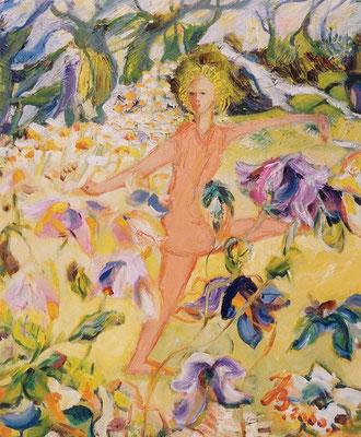 Blumenfee | Öl auf Leinwand | 1999 | 50x60cm | Freude mit Tanz und Blumen.