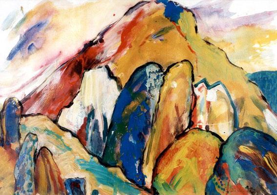 Kraftsteine | Acryl auf Papier | 1998 | 80x60cm