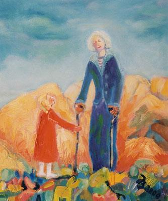 Großmutter | Öl auf Leinwand | 1999 | 50x60cm | Großmutter kommt zu uns.  Ich gehe oft mit ihr spazieren - ich liebe sie.