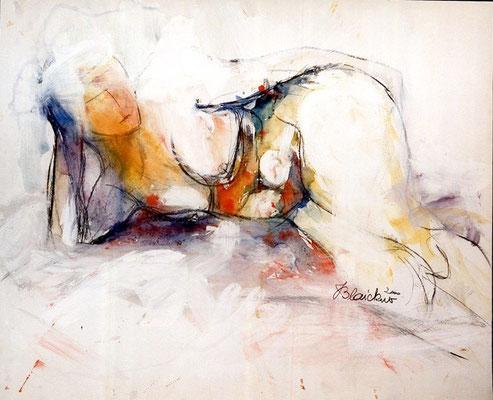 Weiblicher Akt liegend | Aquarell, Kohle auf Karton | 2000 | 90x72cm