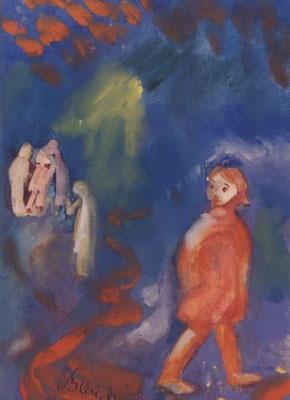 Mädchen am roten Weg | Gouache auf Papier | 2000 | 35x50cm