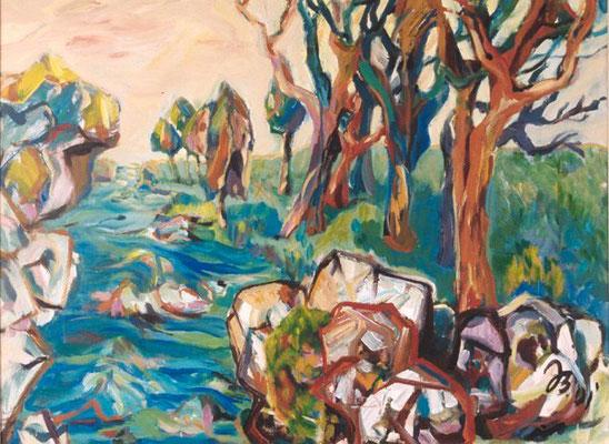 Flußlandschaft | Acryl auf Leinwand | 2001 | 80x60cm