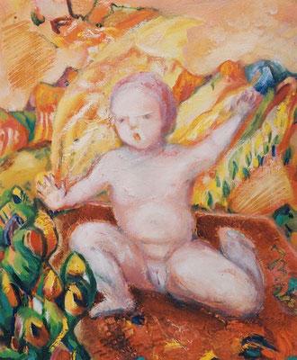 Kindheit | Öl auf Leinwand | 1999 | 50x60cm | Die Integrität im Sein. Das unbedarfte,  neugierige Entdecken der Welt.