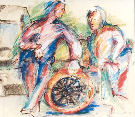 Männergespräch | Tusche, Aquarell, Pastell auf Papier | 1997 | 50x60cm