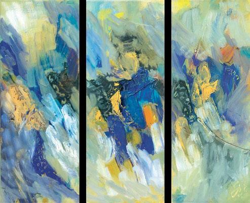 Trio | Ölauf Leinwand | 2007 | je 20x50cm