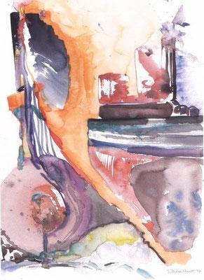 Ölpest | Aquarell auf Papier | 1992 | 35x55cm