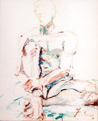 Männlicher Akt, sitzend | Acryl auf Karton | 2000 | 90x72cm