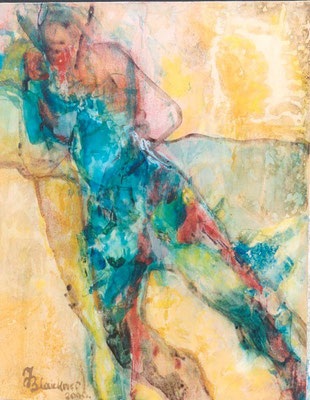 Mann in grüner Hose | Acryl auf Papier| 2000 | 40x50cm