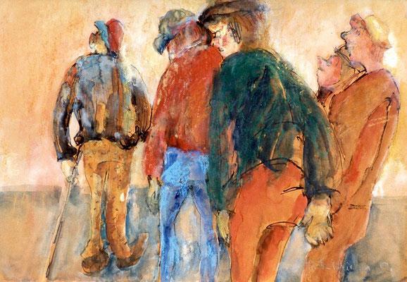 Verschiedene Interessen | Tusche, Aquarell, Pastell auf Papier| 1997 | 50x30cm
