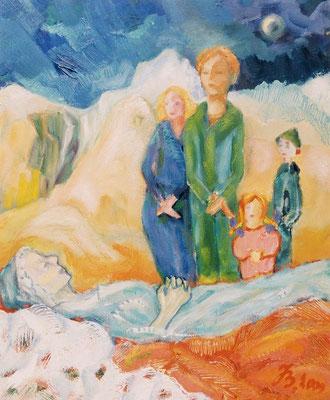 Sterben | Öl auf Leinwand | 1999 | 50x60cm | Großmutter stirbt. Meine erste Begegnung mit dem Tod.