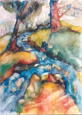Gebirgsbach | Aquarell auf Papier | 1998 | 45x55cm